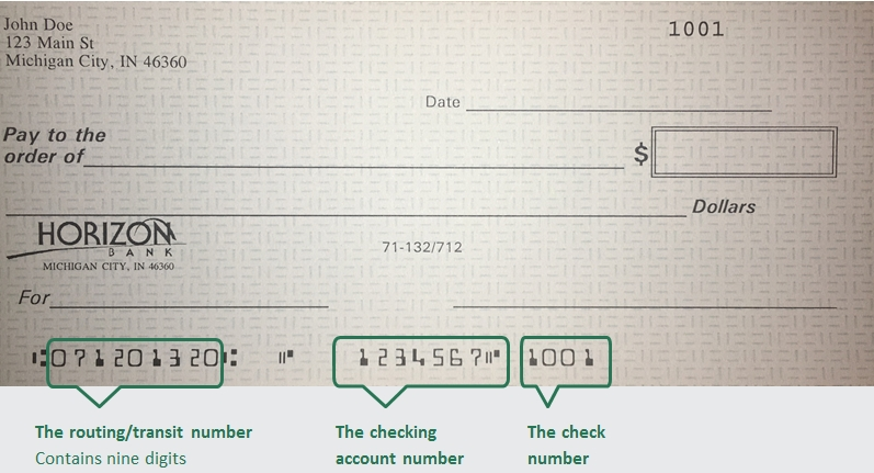 Example of Horizon Bank check for routing number
