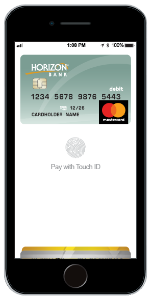 smarphone with apple pay and horizon bank debit card