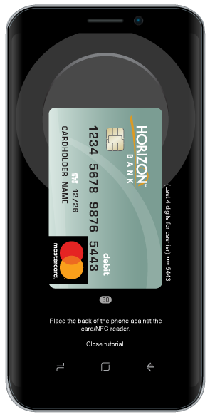 Android smartphone with horizon debit card